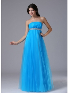 Custom Made Aqua Blue and Belt For 2013 Prom Dress In Benicia California