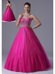 Custom Made Fuchsia A-line Beaded Decorate Prom Dress With Sweetheart In Arizona