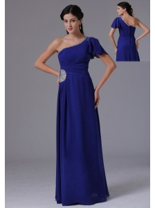 Custom Made Peacock Blue One Shoulder 2013 Prom Dress Beading and Ruch In Alabama