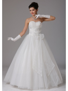 Custom Made Romantic A-line Sweetheart Beading and Ruch Wedding Dress With Bows