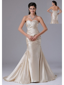 Customize Champagne Sheath Sweetheart Ruched Decorate Bust Prom Dress With Satin In Bristol Connecticut