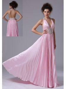 Cute Empire Halter Taffeta Beaded Decorate Waist Brush Train Ruffles Prom Dress