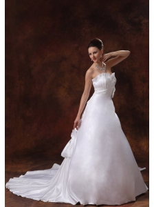 Elegant Hand Made Flowers Sweetheart Low Cost Wedding Dress With Chapel Train Taffeta In Columbus Georgia