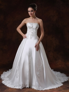 Elegant Strapless Beading Taffeta Chapel Train 2013 Wedding Dress