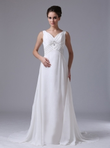 Empire Beaded Decorate Waist Beach Wedding Dress For 2013 V-Neck Chiffon Court Train
