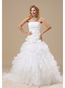 Exclusive Style Ruffles Decorate Bodice Hand Made Flowers A-line Court Train Organza 2013 Wedding Dress