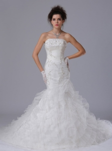 Exquisite Organza Mermaid Strapless Court Train Wedding Dress Button