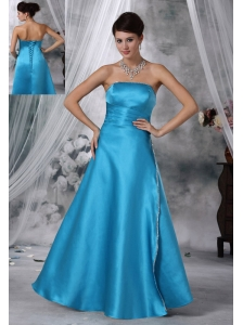Fort Dodge Iowa Beaded Decorate Strapless Floor-length Teal Satin Prom / Evening dress For 2013