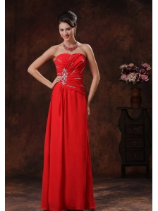 Fountain Hills Arizona Red Beaded Decorate Strapless Chiffon Prom Dress