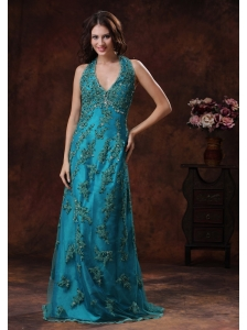 Halter Turquoise Brush Train Prom Dress With Appliques Decorate In Auburn Alabama