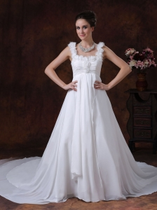 Handle-Made A-Line Straps Chapel Train Chiffon 2013 Beach Wedding Dress