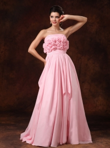 Handle-Made Flower Strapless Pink Empire Chiffon Court Train Low Cost Wedding Dress