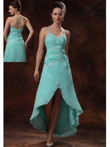 High-low Spaghetti Straps Appliques and Ruch For Turquoise Prom Dress In Ellijay Georgia