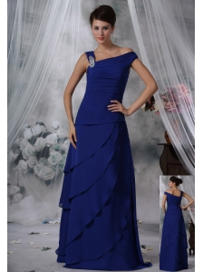 Indianola Iowa Beaded Decorate Asymmetrical Neckline Tiered Skirt Royal Blue Chiffon Prom / Evening Dress For 2013