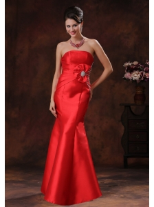 Jerome Arizona Satin Strapless Red Mermaid Prom Dress With Beaded Decorate