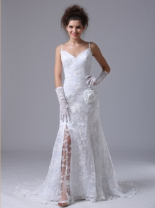 Lace Spaghetti Strap Column Garden / Outdoor Fitted Wedding Dress For 2013