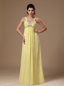 Light Yellow Straps Empire Beaded Chiffon Hottest Plus Size Prom Dress In Albertville Alabama