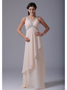 Lovely Champagne V-neck 2013 Prom Dress With Beading and Ruch In North Haven Connecticut