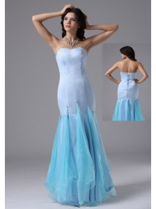 Mermaid Light Blue and Beading In Cerritos California For Prom / Evening Dress Organza and Satin