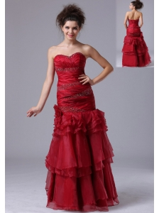 Mermaid Ruffles Red Sweetheart Organza 2013 Prom Dress With Beading
