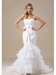 Mermaid Wedding Dress With Sash Ruffles Layered Lace Organza