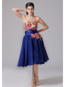 Milford Connecticut Blue Appliques Decorate Sweetheart Short Prom Dress With Knee-length In 2013