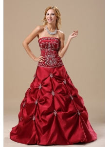Mississippi Embroidery Decorate Bodice Pick-ups A-line Wine Red Floor-length 2013 Prom / Evening Dress