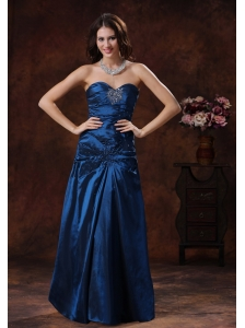 Navy Blue Sweetheart Prom Dress With Beaded Decorate On Taffeta In Opelika Alabama