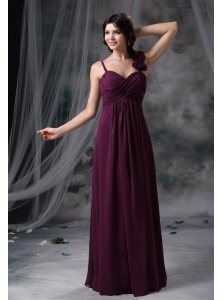 Nevada Iowa Hand Made Flowers Decorate Straps Dark Purple Chiffon Floor-length Ruched Decorate Bodice 2013 Prom / Evening Dress