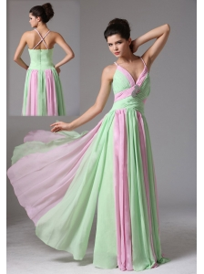 New Haven Connecticut Multi-color Spagetti Straps Ruched Bodice Prom Dress With Beading