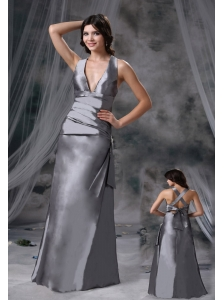 Norwalk Iowa V-neck Grey Criss Cross Floor-length Satin Modest Style For 2013 Prom / Evening Dress