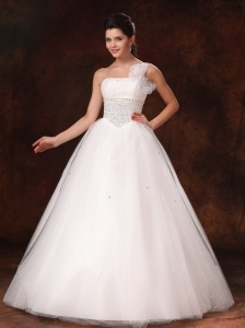 One Shoulder Organza Bowknot Beaded Hottest Ball Gown Wedding Dress