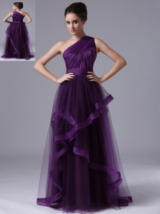 One Shoulder Tulle Empire Purple Ruched 2013 Prom Dress