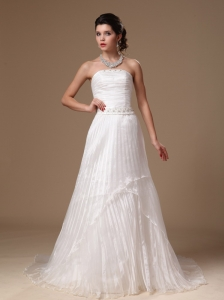 Organza Strapless Beaded Decorate Waist A-line Court Train Custom Made 2013 Low Cost Wedding