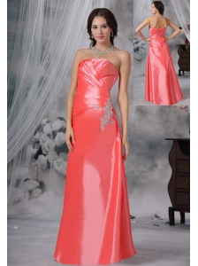 Pella Iowa Appliques Watermelon Red Floor-length Strapless Ruched Decorate Bust Prom / Evening Dress For 2013