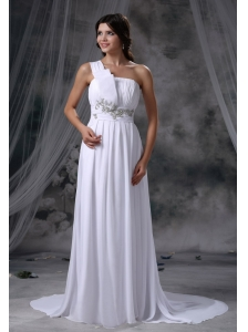Pocahontas Iowa Beading Decorate Waist Ruched Decorate Up Bodice One Shoulder Brush Train Chiffon For 2013 Beach Wedding Dress