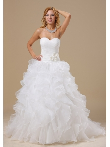 Popular Style Ruffles Decorate Bodice Hand Made Flowers A-line Court Train Organza 2013 Wedding Dress