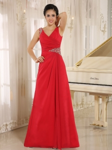 Red Beaded Decorate V-neck and Waist For 2013 Prom Dress In Montgomery