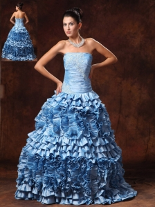 Ruffles Light Blue Strapless A-line Appliques Taffeta Chic New Arrival Prom Gowns In Bessemer Alabama