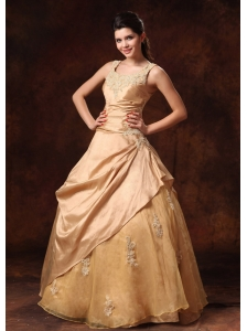 Scoop Champagne Appliques Taffeta And Organza Floor-length Custom Made Prom Dress