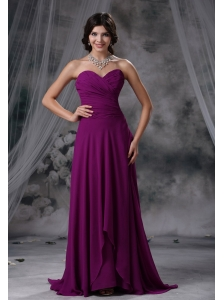 Sibley Iowa Ruched Decorate Bodice Purple Chiffon Brush Train Sweetheart Neckline 2013 Prom / Evening Dress
