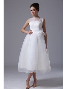 Simple Bateau Tea-length Organza Zipper-up Beach Maternity Wedding Dress