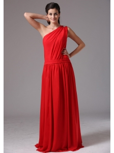 Simple Red One Shoulder Floor-length Plus Size Prom Dress In Mystic Connecticut