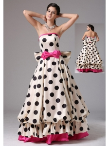 Stylish A-line Multi-color 2013 Prom Graduation Dress With Bows Strapless in Fairfield Connecticut