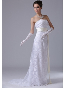 Stylish Strapless Lace Column / Sheath Brush / Sweep 2012 Ankeny Iowa Wedding Dress