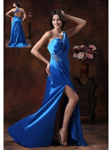 Tempe Arizona Shy Blue High Slit One Shoulder Prom Dress With Beaded Decorate Waist On Elastic Woven Satin