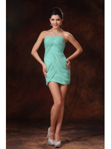 Turquoise Column Mini-length Chiffon Sweetheart Short Prom Gowns With Pleats In Cullman Alabama