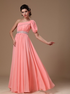 Watermelon One Shoulder Chiffon Graduation Beaded Decorate Waist Customize Prom Gowns