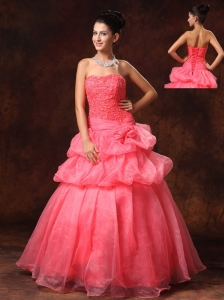 Watermelon Red Hand Made Flowers And Appliques A-line Strapless Organza 2013 New Arrival Prom Gowns For Custom Made