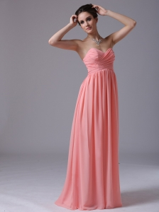 Watermelon Sweethear Floor-length 2013 Prom Dress Ruched In Ann Arbor Michigan